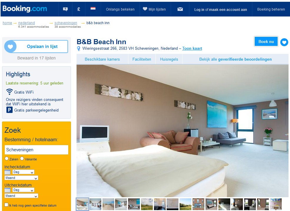 bed and breakfast den haag beach inn